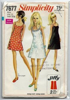 1960s Vintage Sewing Pattern Simplicity 7677 A Line Sleeveless Cocktail Dress