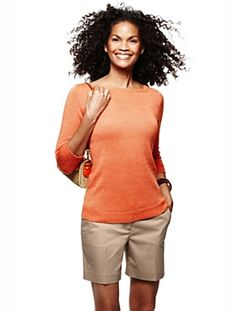 Stop. Look. Linen! (our linen bateau-neck sweater). The sweater is cute, but I love the shorts, too!