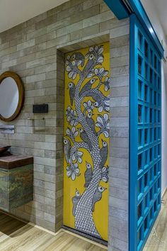 A 800 square foot apartment designed for a retured elderly couple and gifted by their son in Surat. Designed by Align Design studio, it has all the traditional South Indian touches. Door Design, Wall Design, House Design, Design Homes, Design Design, Ethnic Home Decor, Indian Home Decor, Traditional Interior, Traditional House