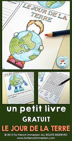 FREE - French Earth Day Mini-Book - le jour de la Terre en français - writing prompt and word search
