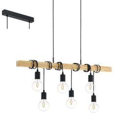 Rustykalna LAMPA wisząca TOWNSHEND 95499 Eglo industrialna OPRAWA kaskada ZWIESZANA na belce kable przewody drewno czarne