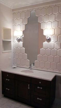 Shaped tile over mirror