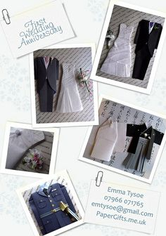 www.papergifts.me.uk - Bespoke Hand Made Wedding Outfits for First Wedding Anniversary