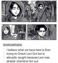 Levi Eren checking out looking at each other on horse ride ereri manga Armin, Mikasa, Eren E Levi, Attack On Titan Meme, Attack On Titan Ships, Attack On Titan Fanart, Ereri, Aot Memes, Funny Memes