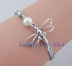 white pearl and dragonfly bracelet,Animals bracelet,silver rope.flower girl,Bridesmaids bracelet wedding jewelry,gift for best friend,sister