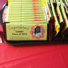 Custom candy bar wrappers for graduation party favor! So easy to make.