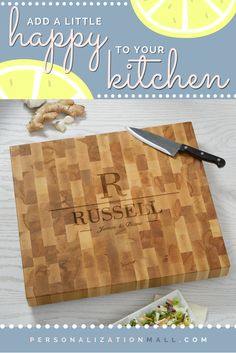 This Personalized Butcher Block Cutting Board is GORGEOUS! You can have it engraved with any name, initial and any message - I want this for my house! Such a great housewarming and wedding gift idea too!
