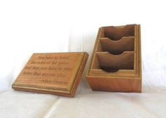 Carved 3 Deck Cherry Wood Box With Quote for Magic by FoxAndDragon, $99.95 Deck Box, Wood Boxes, Mtg, Tabletop, Board Games, Cherry, Carving, Place Card Holders, Quote