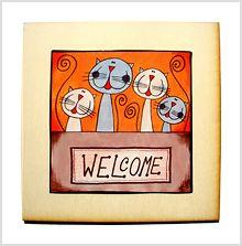 Door sign Welcome Panneau de porte Bienvenue