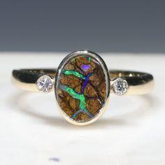 Natural Australian Boulder Opal Matrix and Diamond Gold Ring  - Size 7.25 Code - RL39 10k Gold Ring, Gold Diamond Rings, Opal Rings, Gold Rings, Natural Opal, Natural Diamonds, Matrix Opal, Gold Ring Designs, Opal Color
