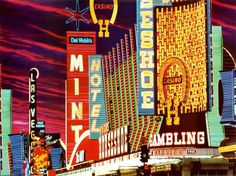 Print of Fremont Street neon signs