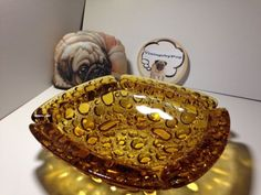 "Vintage Blenko 8"" Bubble Pebble Pattern Amber Ashtray *NO RESERVE*"