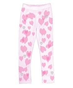 White & Pink Heart Confetti Leggings - Toddler & Girls