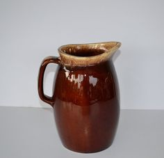 Price Reduced Hull Pottery Pitcher Large Hull Brown Drip by JudysJunktion, $24.00