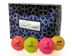 If you are looking for a highly visible golf ball, soft compression, then Ball Couture is the golf ball for you. This ball is perfect for women of all skill levels. Should you play with friends our ranibow pack is perfect, with 4 different colors to play with.    ·High visibility rainbow of 4 colors with signature icons    ·70 compression golf ball made for swings between 70—105 mph    ·New pigment blend core produces longer and consistent distance    ·The HPC Urethane cover produces a…