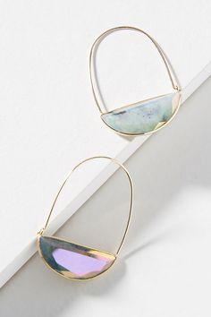 Slide View: 1: Stone Crescent Hoop Earrings