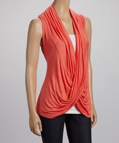 Take a look at this Coral Lace Drape Neck Sleeveless Top by sun n moon on #zulily today! 15.99