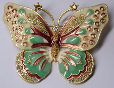 Kenneth Jay Lane Papillon Pastel Large Butterly Pin Brooch in Box GORGEOUS!
