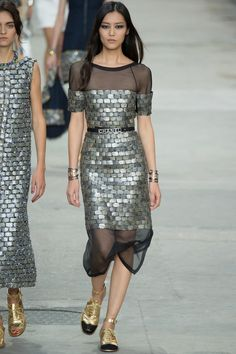 megababe ix: liu wen, walking at pfw for chanel's fall 2014 in a cobblestonesque dress