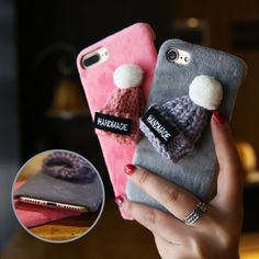 Christmas Festive Fur Phone Case Cover Hard Pc For Iphone 7 6 8 Plus 5S Samsung