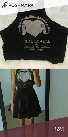 "Black Cotton Tank "" True love is... Listening to his heartbeat while hugging""   Black Tank Top. Extremely comfortable size- Extra small Tops Tank Tops"