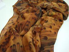 Wild Animal Print Brown Rust Black Hand Dyed Chiffon Silk Scarf Light Airy Summer. $30.00, via Etsy.