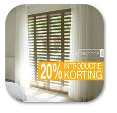In 2017 ontvang je 20 % korting op Fractions, aluminium shutters. Unieke raamdecoratie, kijk op fractions.nl