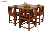 Buy Cohoon 4 Seater Dining Set (Honey Finish) Online in India - Wooden Street Wooden Dining Table Designs, Wooden Dining Tables, Dining Set, 4 Seater Dining Table, Set Honey, Wooden Street, Outdoor Furniture, Outdoor Decor, India