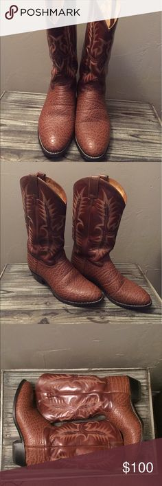 Tony Lama Men's Elephant Grain Cowboy Boots Authentic Tony Lama elephant grain boots in excellent condition! Only worn a few times. Comes with box, but it is not the original box. Tony Lama Shoes Boots