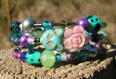 The Original Cat Wrap Around Bracelet Purple rose Blue cat Crystals Glass mix