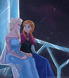 Frozen - Queen Elsa x Princess Anna - Elsanna Anna Y Elsa, Frozen Elsa And Anna, Disney Frozen Elsa, Disney Magic, Disney Art, Frozen Characters, Disney Cartoon Characters, Disney And Dreamworks, Disney Pixar