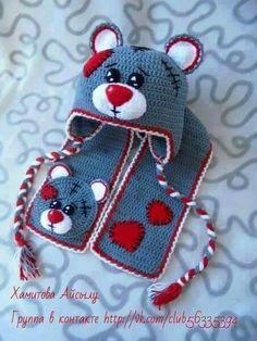 New Ideas Crochet Heart Hat Pattern Girls Crochet Kids Hats, Crochet Amigurumi Free Patterns, Crochet Bear, Crochet Gifts, Cute Crochet, Baby Knitting Patterns, Crochet Dolls, Crochet Scarves, Knitted Hats