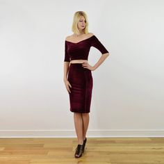796ee505d78 Audrey Velour Velvet Womens Two Piece Christmas Party Dress. Long Sleeve  Off Shoulder Crop Top Pencil Skirt in Plush Red