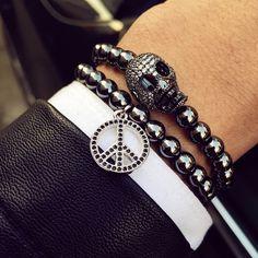 Titanium Steel Beads Skull Bracelets Bangle //Price: $21.69 & FREE Shipping //     #skull #skullinspiration #skullobsession #skulls