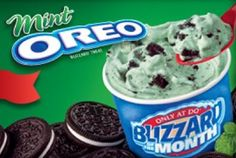 Dairy Queen Blizzard of the Month for March Mint Oreo - GrubGrade Cheesecake Desserts, Frozen Desserts, Frozen Treats, No Bake Desserts, Just Desserts, Oreo Blizzard Recipe, Dq Blizzard, Cream Restaurant, Queens Food