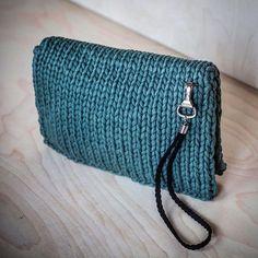 WEBSTA @ knitknotkiev - Tiny green clutch purse on magnetic clasp with lather wrist handleМаленький зелёный клатчик на магнитной застёжке и с кожаной ручкой на запястье #knitknotkiev #zpagetti #zpagettiyarn #tshirtyarn #clutch #clutchpurse #purse #handmade #madeinukraine