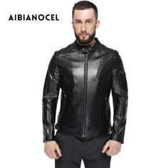 AIBIANOCEL 2017 Winter Men Leather Jacket Sheepskin Coat Fashion Yong Men Popular Leather Jackets And Coat Genuine Leather Coat * AliExpress Affiliate's buyable pin. Click the image to find out more on www.aliexpress.com #Men'sleather jackets
