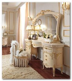 Luxury Bedroom Furniture, Shabby Chic Furniture, Bedroom Decor, My New Room, My Room, Luxury Interior, Interior Design, Dressing Table Vanity, Luxurious Bedrooms