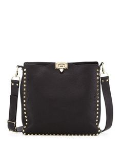 Rockstud+Flip-Lock+Messenger+Bag,+Black+by+Valentino+at+Neiman+Marcus.