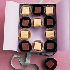 A checkerboard of vanilla and chocolate squares nestled in paper candy cups in contrasting colors is a gift that's both beautiful and delicious.