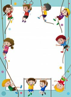 Paper template with kids climbing rope Free Vector Boarder Designs, Page Borders Design, Portfolio Kindergarten, Kids Climbing, Climbing Rope, School Border, School Frame, School School, Kids Background
