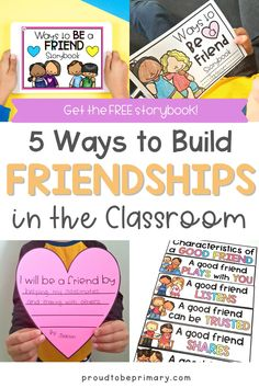 """Friendship-building activities help children in K-3 develop strong social skills and have more success in school and life. Find lessons for elementary teachers (kindergarten, first, second, third grade) on how to get to know others, foster teamwork, emphasize kindness, as well as children's books about friendship. Use the teaching tips to guide classroom management, for morning meeting, as well as social-emotional learning. Grab the free printable and digital """"Ways to be a Friend"""" storybook! Respect Activities, Teaching Respect, Teaching Empathy, Teaching Tips, Social Emotional Development, Social Emotional Learning, Social Skills, Character Education Lessons, Friendship Activities"""