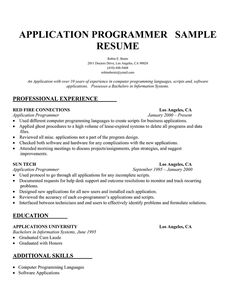 application programmer resume - Programmer Resume Example