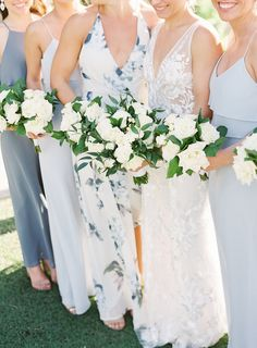 Beautiful dusty blue and navy floral bridesmaid dresses in Tampa, Florida | Demutiis Photography Floral Bridesmaid Dresses, Wedding Bouquets, Wedding Dresses, Tampa Florida, Dusty Blue, Shades Of Blue, Color Combos, Wedding Colors, Blue And White