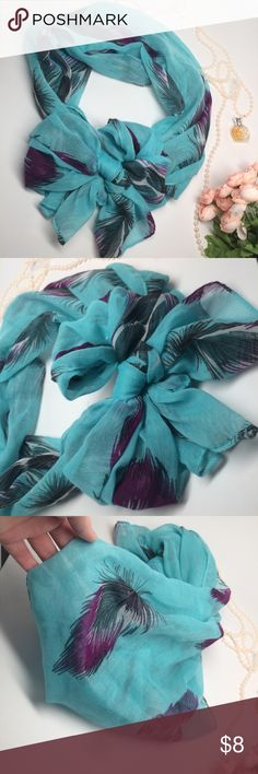 Teal feather scarf, light scarf Adorable scarf! Great to tie in a bow for a chic look! A few runs and last picture shows a flaw. Bundle 3 or more scarfs to get for $4 each! Accessories Scarves & Wraps
