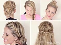 Quick styles for wet hair. The bottom left one Is my favorite