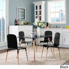 CHEAPEST SET OF 4 $180 (red or black) Stack Wood Dining Chairs (Set of 4)