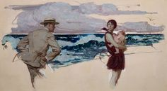 The Wind, Ladies Home Journal story Illustration, oil on canvas 20 x 36 in. by Saul Tepper (American, 1899-1987)