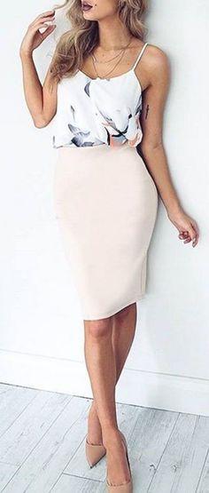 #summer #fashion / pencil skirt + blouse #summerfashions,