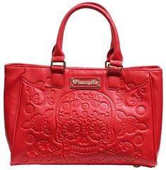 Loungefly Red Embossed Sugar Skull Tote
